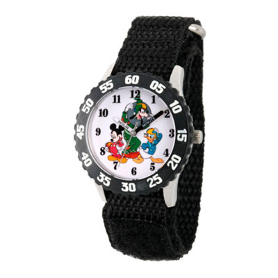 Disney Mickey Mouse Boys Black Strap Watch-Wds000186