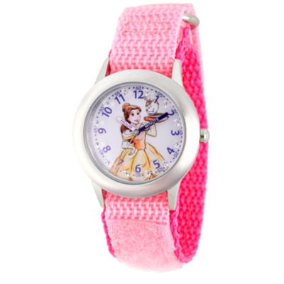 Disney Princess Belle Beauty and the Beast Girls Pink Strap Watch-Wds000187