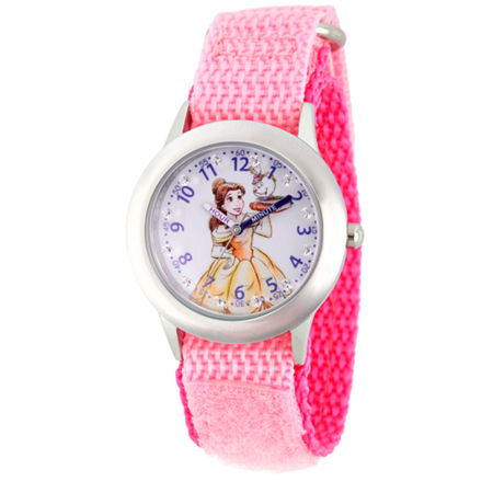 Disney Belle Beauty and the Beast Girls Pink Strap Watch-Wds000187. One Size