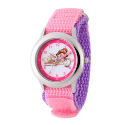 Disney Princess Belle Beauty and the Beast Girls Pink Strap Watch-Wds000189