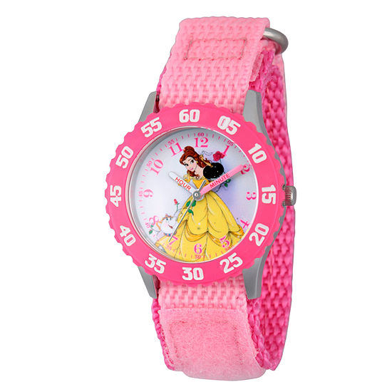 Disney Collection Belle Beauty and the Beast Girls Pink Strap Watch-Wds000190