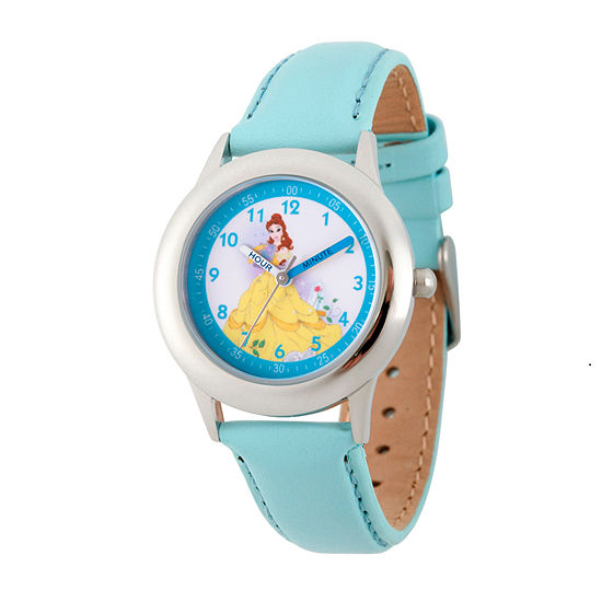 Disney Belle Beauty and the Beast Girls Blue Leather Strap Watch-Wds000191