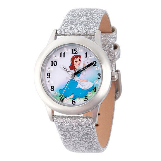 Disney Belle Beauty and the Beast Girls Silver Tone Leather Strap Watch-Wds000192