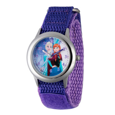 Disney Princess Anna And Elsa Frozen Girls Purple Strap Watch-Wds000193