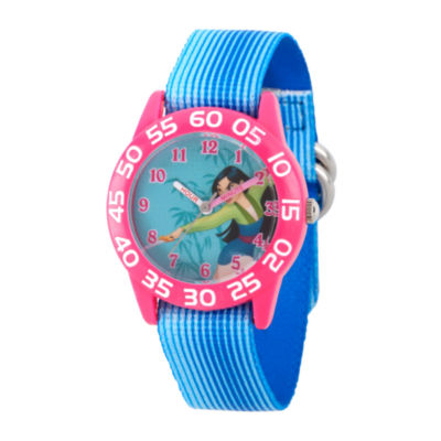 Disney Princess Mulan Girls Blue Strap Watch-Wds000197