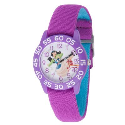 Disney Princess Mulan Girls Purple Strap Watch-Wds000199