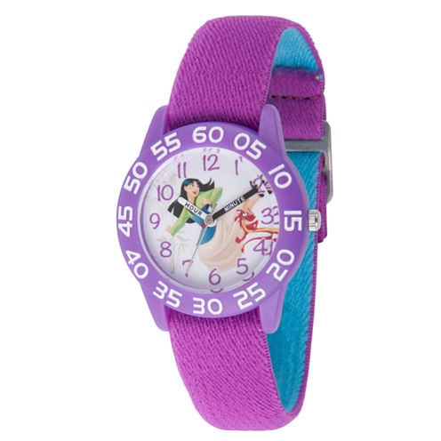 Disney Princess Mulan Girls Purple Strap Watch-Wds000199