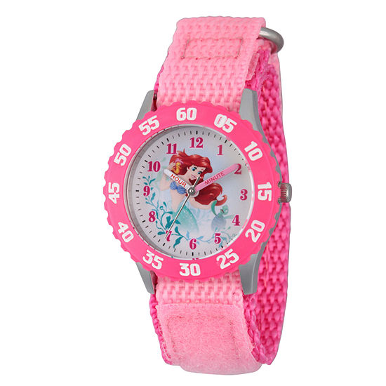 Disney Ariel The Little Mermaid Girls Pink Strap Watch-Wds000201