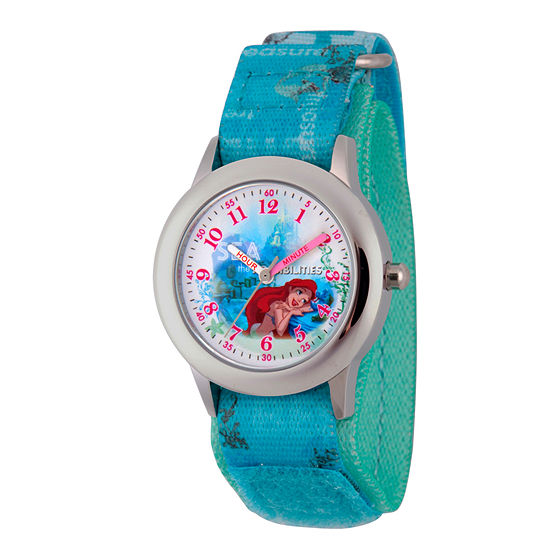 Disney Ariel The Little Mermaid Girls Blue Strap Watch-Wds000202