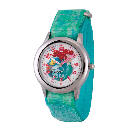 Disney Collection Ariel The Little Mermaid Girls Green Strap Watch-Wds000203