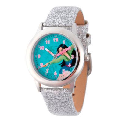 Disney Princess Mulan Girls Silver Tone Strap Watch-Wds000204