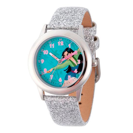 Disney Mulan Disney Princess Girls Silver Tone Leather Strap Watch-Wds000204