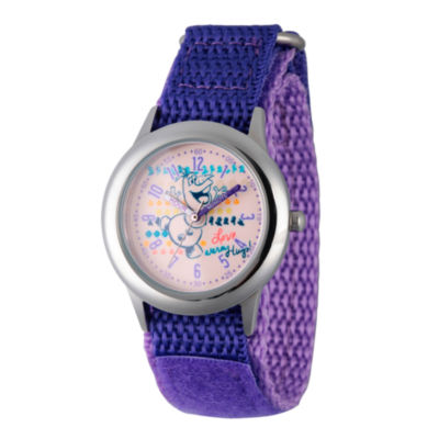 Disney Princess Olaf Frozen Girls Purple Strap Watch-Wds000207