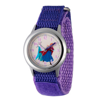 Disney Princess Anna And Elsa Frozen Girls Purple Strap Watch-Wds000208