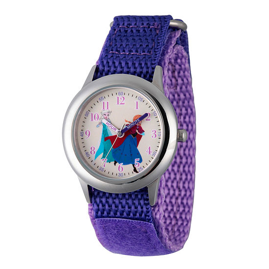 Disney Anna And Elsa Frozen Girls Purple Strap Watch-Wds000208