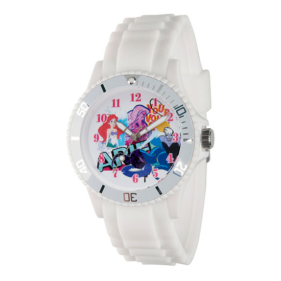 Disney The Little Mermaid Womens White Strap Watch-Wds000209