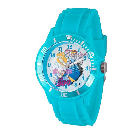 Disney Cinderella Womens Blue Strap Watch-Wds000210
