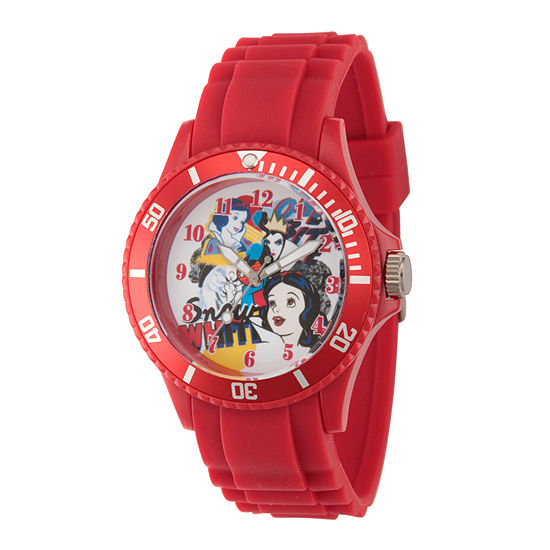 Disney Snow White Womens Red Strap Watch-Wds000211