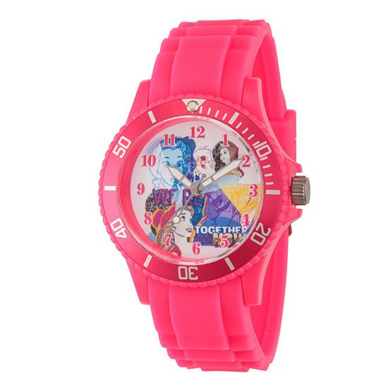 Disney Beauty and the Beast Womens Pink Strap Watch-Wds000212