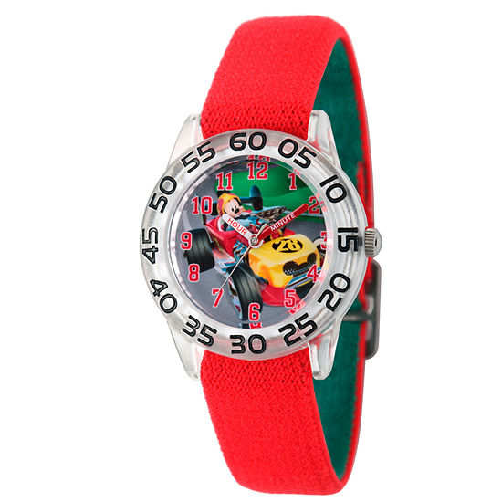 Disney Collection Mickey Mouse Boys Red Strap Watch-Wds000213