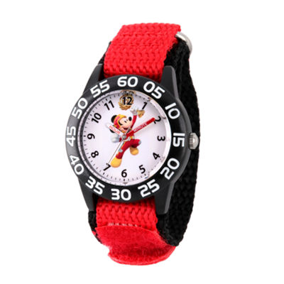 Disney Mickey Mouse Boys Red Strap Watch-Wds000214