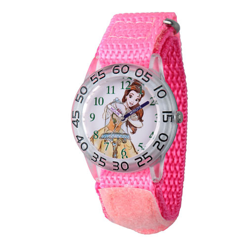 Disney Princess Belle Beauty and the Beast Girls Pink Strap Watch-Wds000221