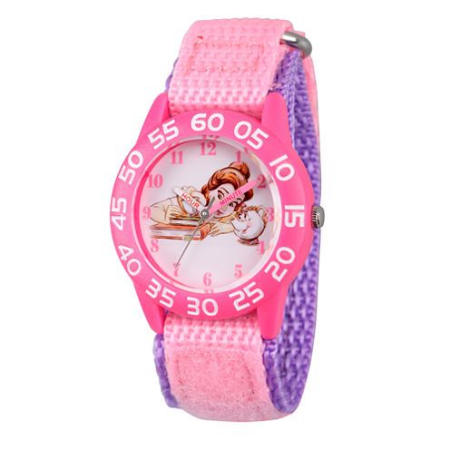 Disney Princess Belle Beauty and the Beast Girls Pink Strap Watch-Wds000222