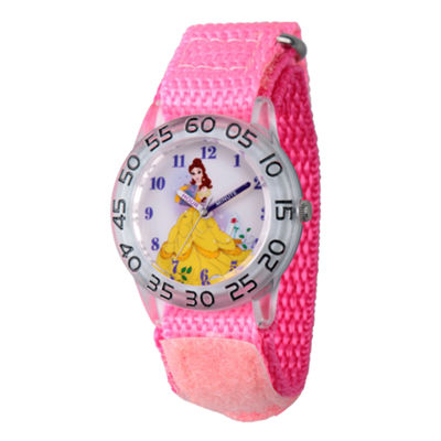 Disney Princess Belle Beauty and the Beast Girls Pink Strap Watch-Wds000224