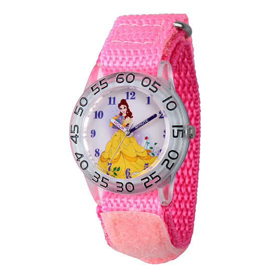 Disney Belle Beauty and the Beast Girls Pink Strap Watch-Wds000224