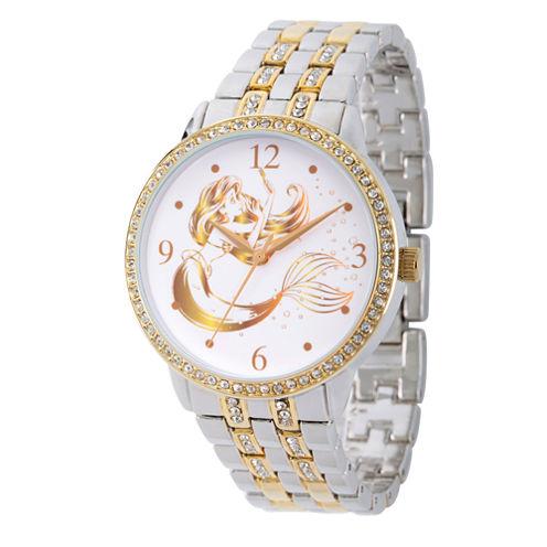 Disney Princess Ariel The Little Mermaid Womens Two Tone Bracelet Watch-Wds000230