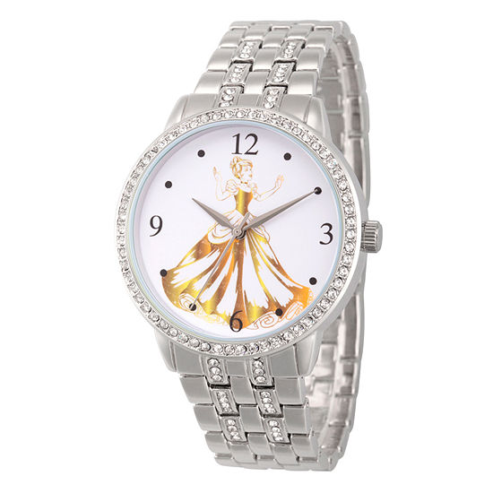 Disney Cinderella Womens Silver Tone Bracelet Watch-Wds000231