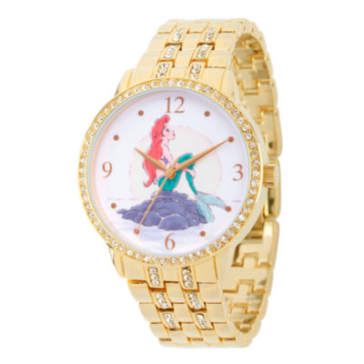 Disney Princess Ariel The Little Mermaid Womens Gold Tone Bracelet Watch-Wds000232