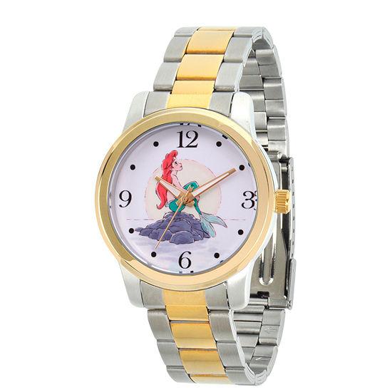 Disney The Little Mermaid Womens Two Tone Stainless Steel Bracelet Watch - Wds000233