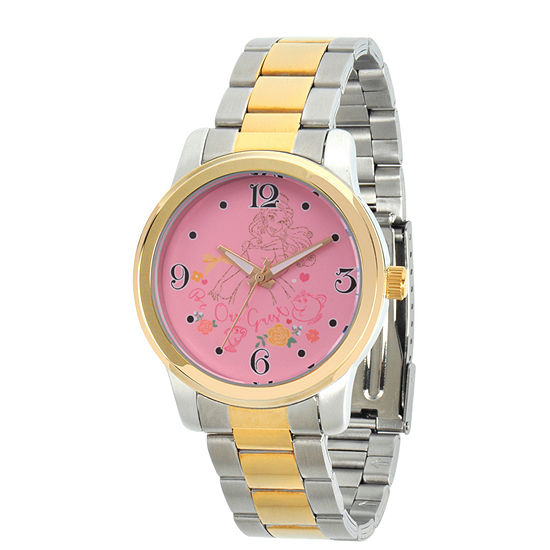 Disney Beauty and the Beast Womens Two Tone Stainless Steel Bracelet Watch-Wds000234
