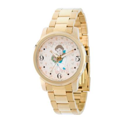 Disney Princess Belle Beauty and the Beast Womens Gold Tone Bracelet Watch-Wds000235