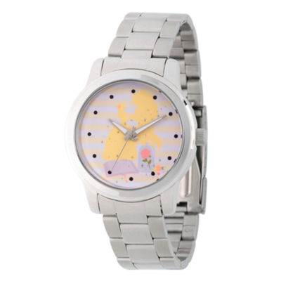 Disney Princess Belle Beauty and the Beast Womens Silver Tone Bracelet Watch-Wds000236