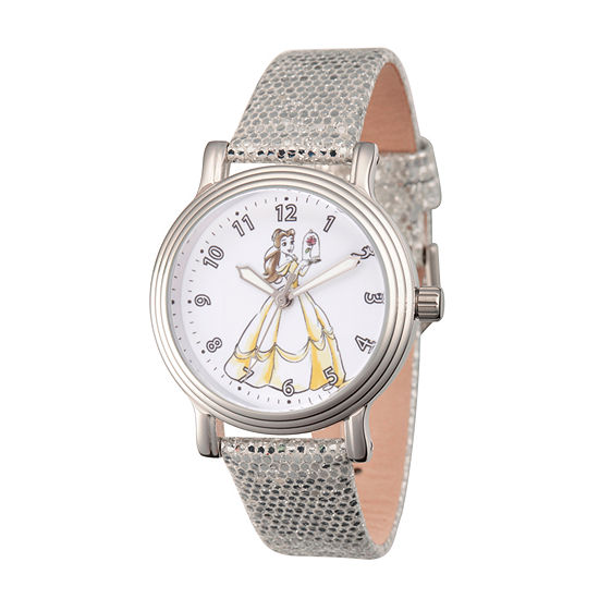 Disney Beauty and the Beast Womens Silver Tone Leather Strap Watch-Wds000238