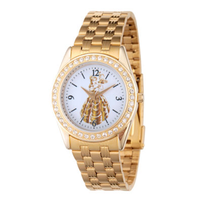 Disney Princess Belle Beauty and the Beast Womens Gold Tone Bracelet Watch-Wds000239