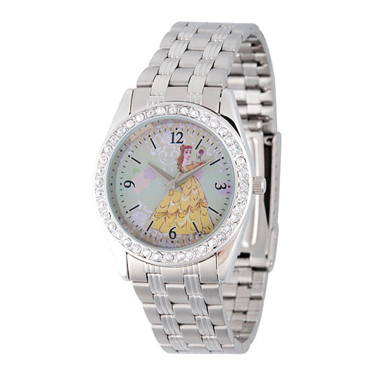 Disney Beauty and the Beast Womens Silver Tone Stainless Steel Bracelet Watch-Wds000240