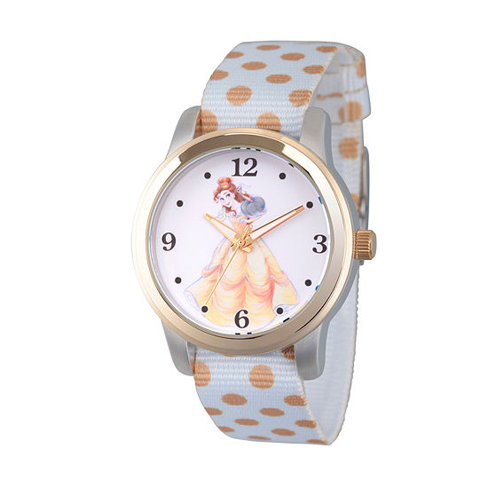 Disney Beauty and the Beast Womens White Strap Watch-Wds000241