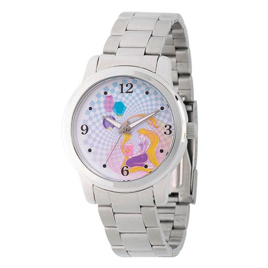 Disney Tangled Womens Silver Tone Stainless Steel Bracelet Watch-Wds000242