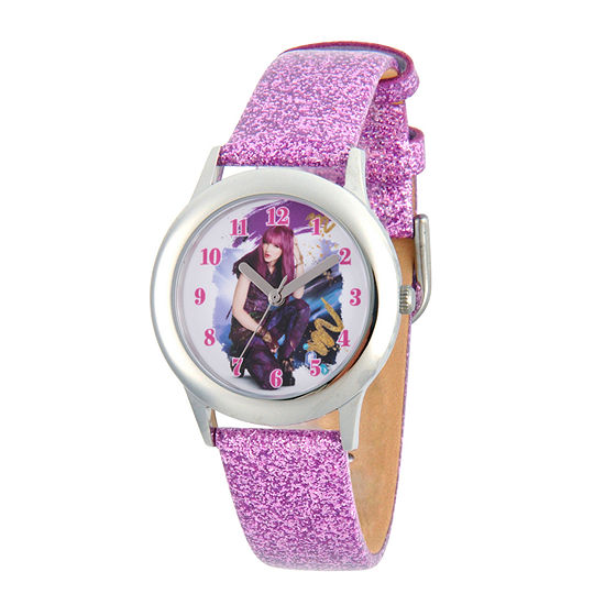 Disney Descendants Girls Purple Leather Strap Watch-Wds000247