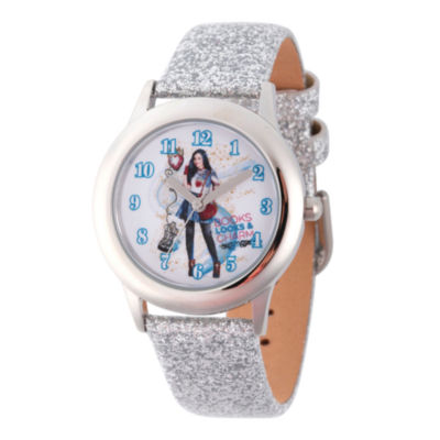 Disney Descendants Girls Silver Tone Strap Watch-Wds000249
