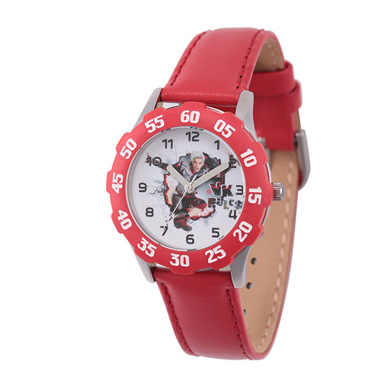 Disney Descendants Boys Red Leather Strap Watch-Wds000251