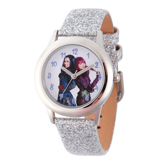 Disney Collection Descendants Girls Silver Tone Leather Strap Watch-Wds000253
