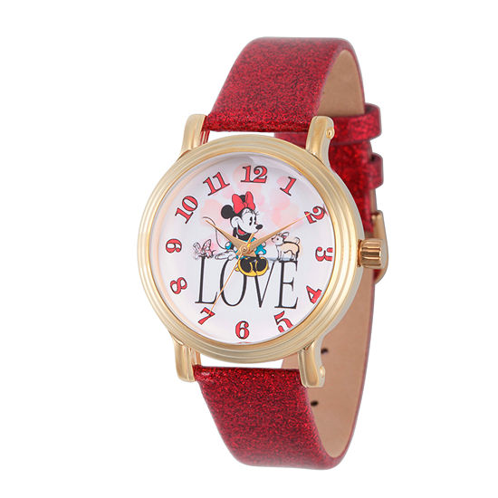 Disney Minnie Mouse Womens Red Leather Strap Watch-Wds000254