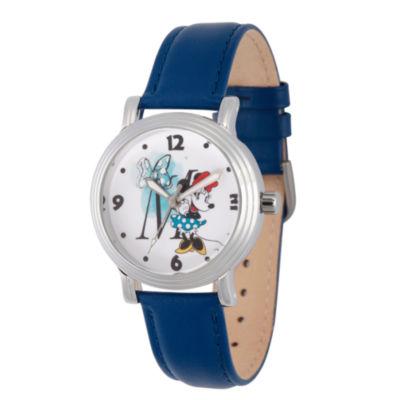 Disney Minnie Mouse Womens Blue Strap Watch-Wds000255