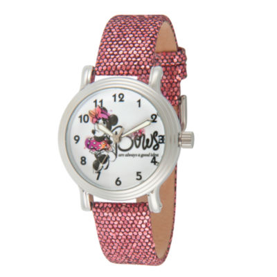 Disney Minnie Mouse Womens Purple Strap Watch-Wds000256