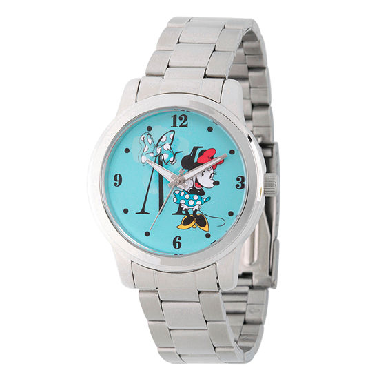 Disney Minnie Mouse Womens Silver Tone Stainless Steel Bracelet Watch-Wds000258