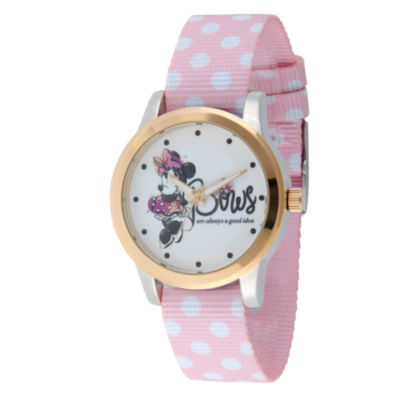 Disney Minnie Mouse Womens Pink Strap Watch-Wds000259